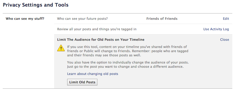Limit The Audience for Old Posts on Your Timeline 截图
